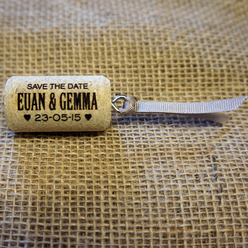 Cork Save the Date with Ribbon attached