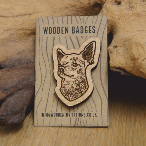 Engraved wooden badge / brooch / pin of a tattooed chihuahua