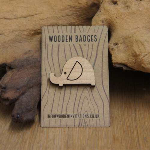 Engraved wooden badge / brooch / pin of an elephant