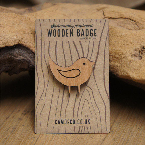 Engraved wooden badge / brooch / pin of a bird