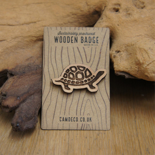 Wooden Engraved Badges - Tortoise