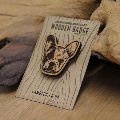 Engraved Wooden Badge - Frenchie