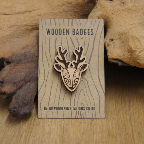 Engraved wooden reindeer badges / brooches / pins.
