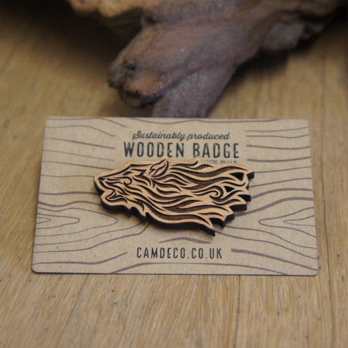 Engraved wooden wolf badge, wolf pin, wolf brooch