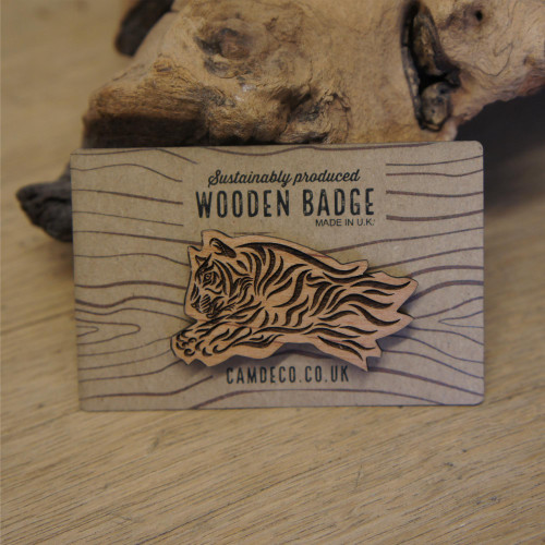 Engraved wooden badges / pins / brooches - tiger