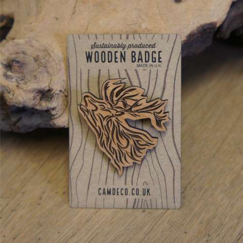 Engraved wooden badges / pins / brooches - stag