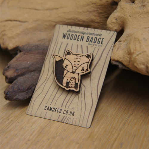 Engraved wooden animal badges / brooches / pins - fox. Supplied with pin attachment. Sustainable wood.