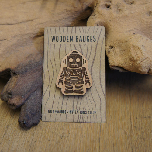 Engraved Wooden Badge - Retro Robot. Supplied with pin attachment. Sustainable wood.