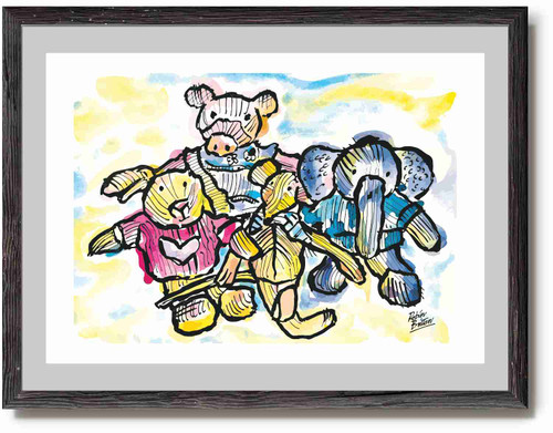 Knitted Toys - watercolour print - ideal print for for child's bedroom or nursery