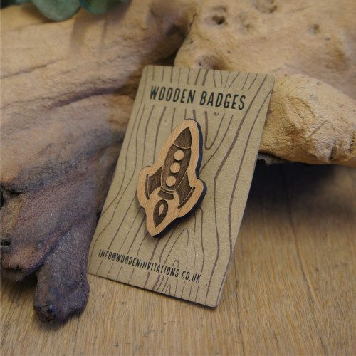 Engraved wooden retro rocket badge / brooches / pins. Supplied with pin attachment. Sustainable wood.