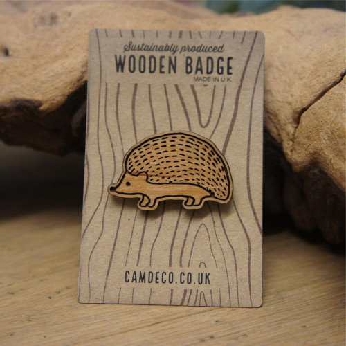 Wooden Engraved Animal Badges - Hedgehog with pin attachment