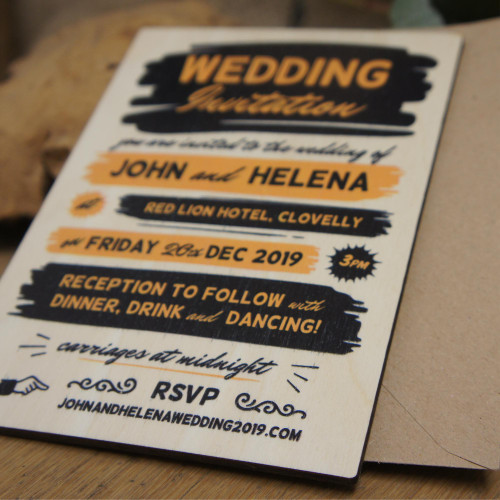 Printed wooden wedding invitation - 1950's retro inspired design