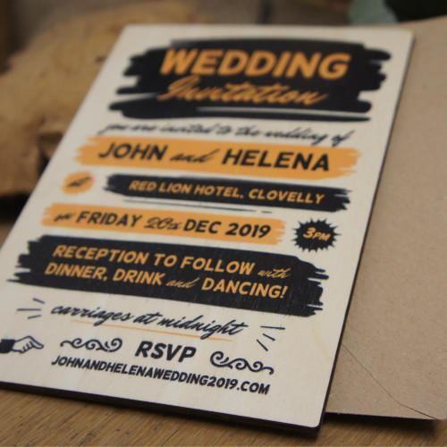Printed wooden wedding invitation - 1950's retro inspired design