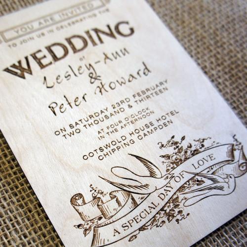 Wooden Wedding Invitation - Swallow