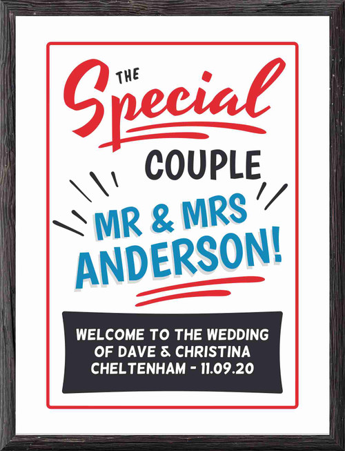 Personalised Named Poster Wall Art - Retro 1950's inspired design ideal wedding or anniversary gift