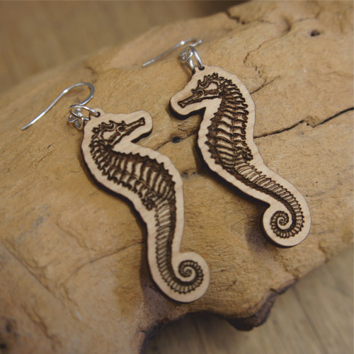 Wooden dangle / drop earrings - Seahorses. Engraved wooden earrings with sterling silver hooks