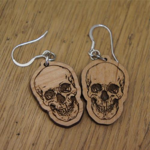 Wooden dangle / drop earrings - Skulls. Engraved wooden earrings with sterling silver hooks