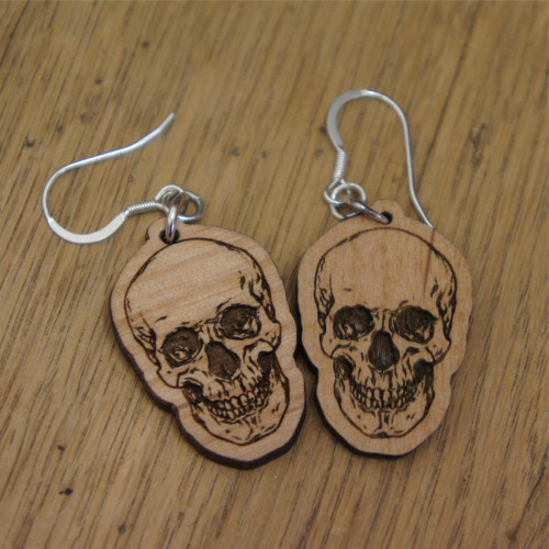 Wooden dangle / drop earrings - Skulls. Engraved wooden earrings with sterling silver hooks