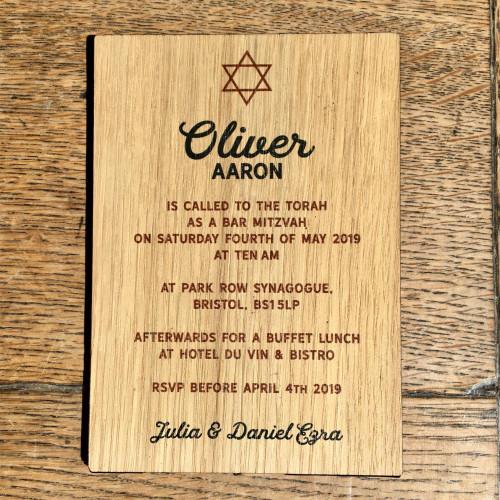 Printed Wooden Bar Mitzvah Invitation - Star of David, Call to the Torah
