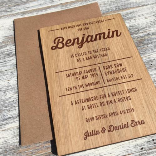 Printed Wooden Bar Mitzvah Invitation - Modern Block Design