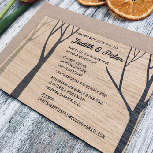Wooden Printed Wedding Invitation - Winter Trees