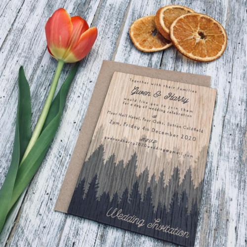 Printed wooden wedding invitation - Forest Wilderness