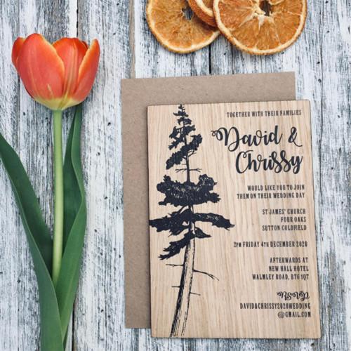 Printed Wooden Wedding Invitation - Lone Pine Design