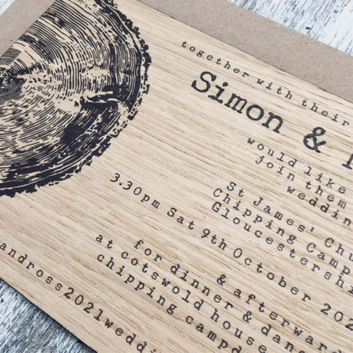 Printed wooden wedding invitations - wood slice / tree ring modern design