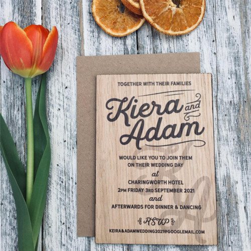 Printed wooden wedding invitation - Modern typography