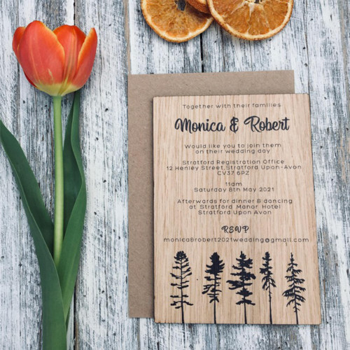 Printed wooden wedding invitation - 5 pines