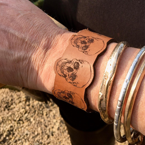 Engraved Leather Skull Pattern Cuff - Laser Engraved Leather Cuff, Unisex Leather Cuff, Women's Leather Bracelet, Men's Skull Bracelet