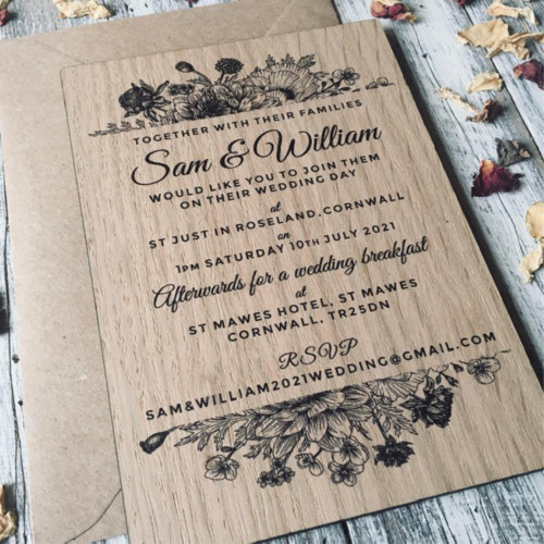 Printed wooden wedding invitation - Wildflower Arrangement