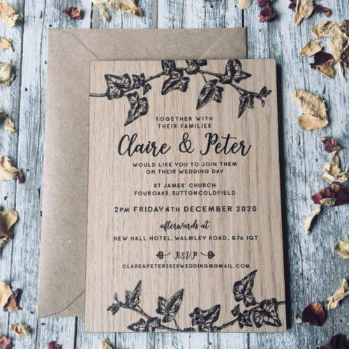 Printed Wooden Wedding Invitation - Winter Ivy - suitable for winter weddings