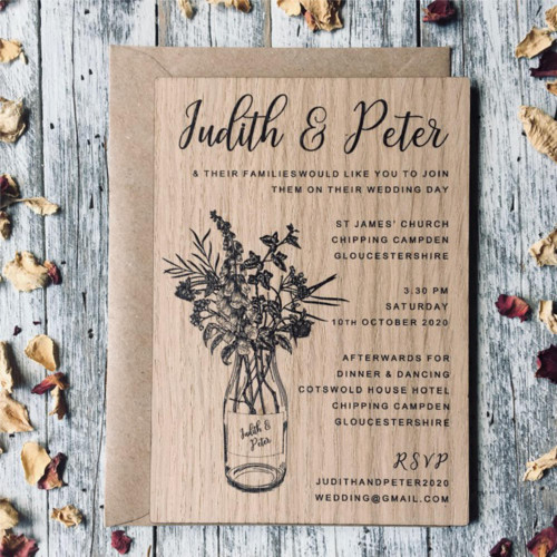 Printed wooden wedding invitation - wildflowers in a bottle