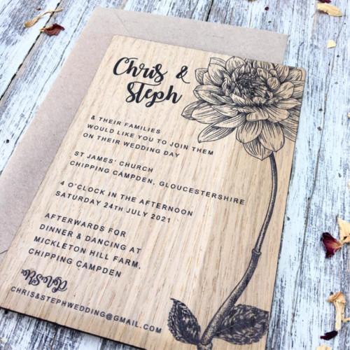 Printed Wedding Invitation - Dahlia