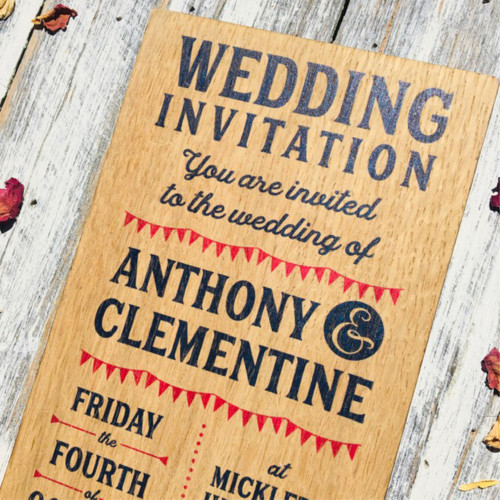 Wooden Printed Wedding Invitation - Bunting - DL size