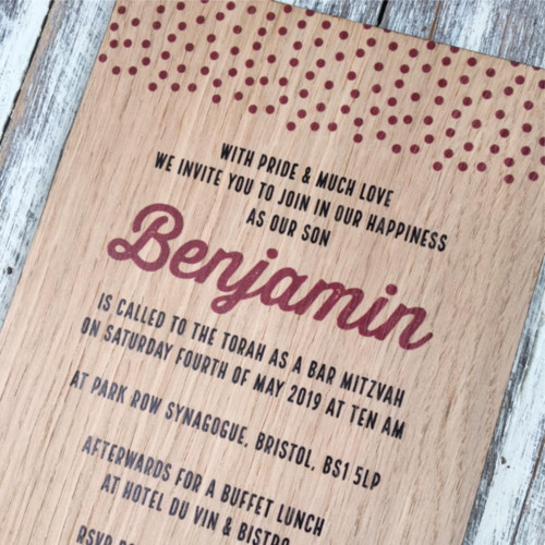 Printed Wooden Bar Mitzvah Invitation - Modern Design - Dots