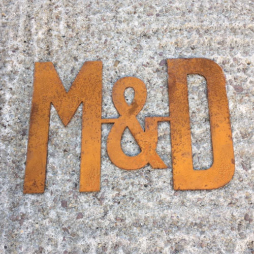 Corten Steel Wedding Initials