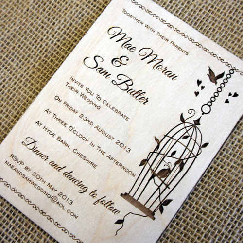 Wooden Wedding Invitations - Birdcage