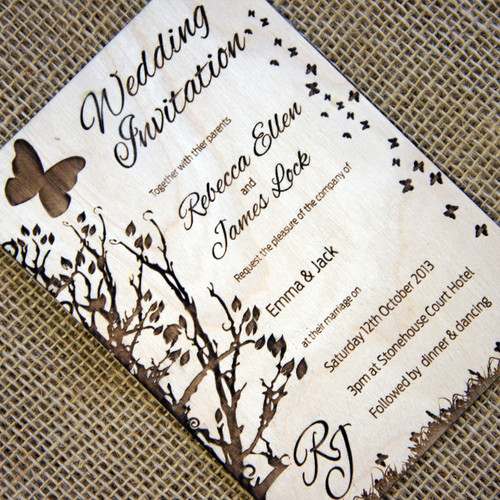 6+ Wooden Wedding Invitations - Butterflies (low numbers to suit Covid weddings)