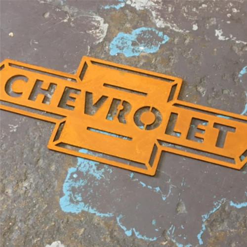 Corten steel Chevy Logo, Corten steel Chevrolet logo, Rusty steel Chevrolet logo, Weathering steel Chevrolet logo, Weathering steel Chevy logo