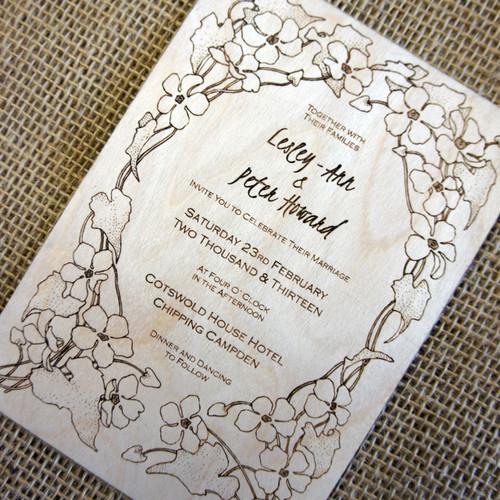 Wooden Wedding Invitations - Flowered Border