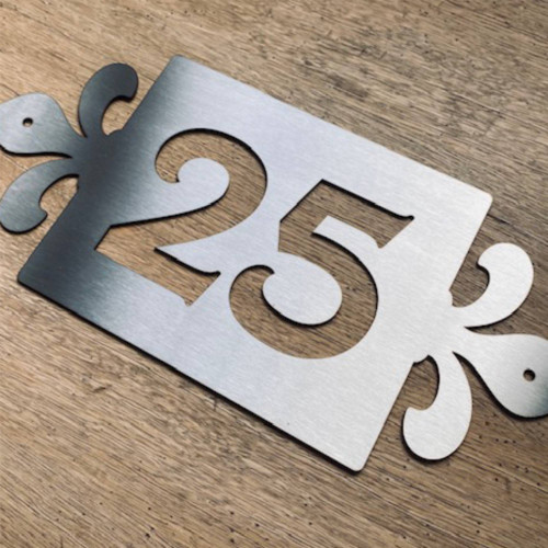 Stainless steel house number sign with fleur de lys styling. Metal house number plaque. Fleur de lis sign.
