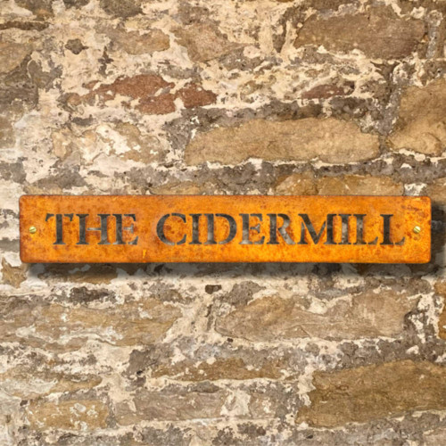 Small, narrow rusty steel house name signs (1 line of text) - corten steel house signs, rusty steel house name plaques, corten steel house name plaques