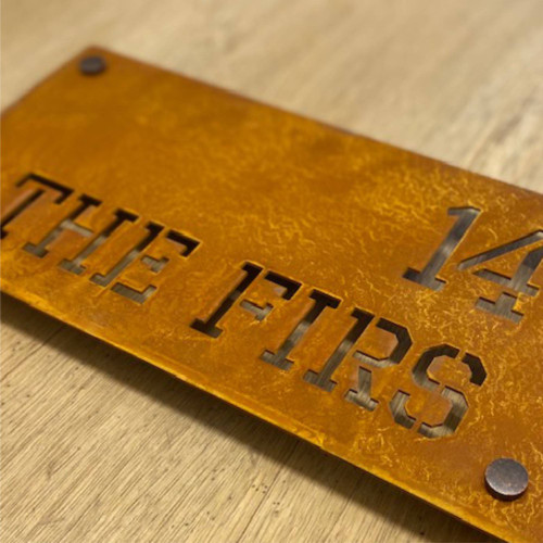 Rusty House Name Sign. Ideal for two lines of text.