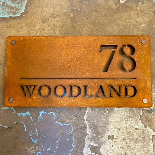 Style C - rusty steel house signs (Corten Steel House Signs)