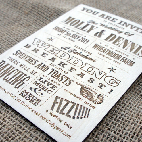 Wooden Wedding Invitations - Funfare