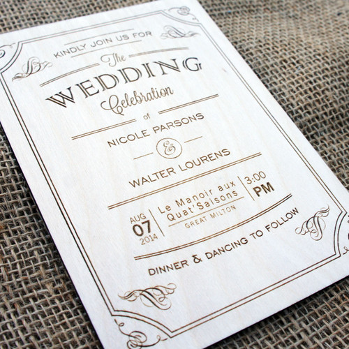 Wooden Wedding Invitations - Vintage Flourish