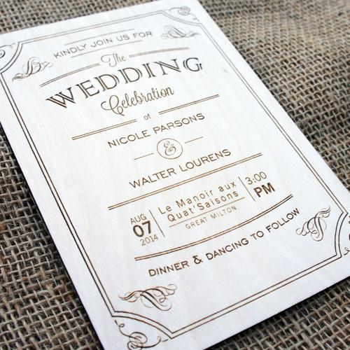 Wooden Wedding Invitations - Vintage Flourish