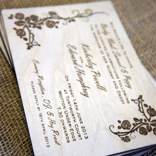 Wooden Wedding Invitations - Wild Rose